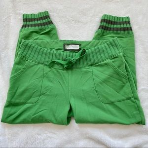 EUC Green Joggers with Knit Waist and Ankles